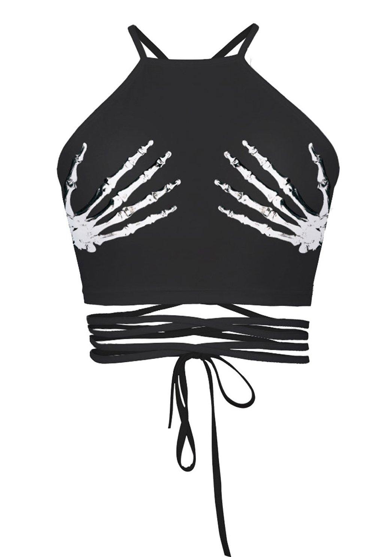 Women's Teens Girls Printed Halter Bandage Vest Crop Top Shirt(Skeleton Hands)