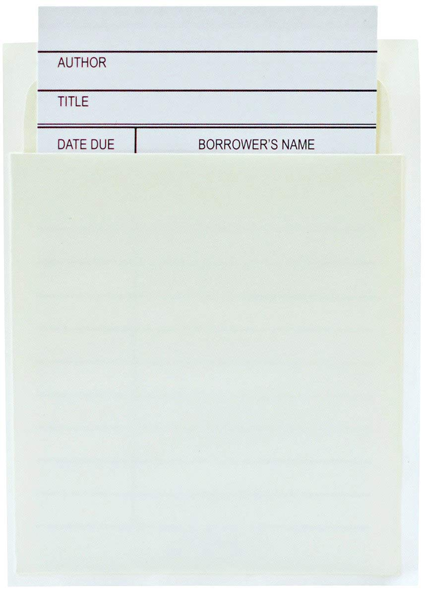 Jot & Mark Library Book Card and Pocket Holder Kit   For Organizing Lending Catalogs, Libraries, and Checkouts, Set of 100 each