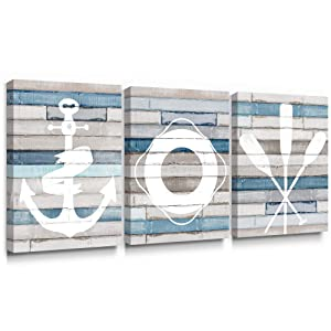 Adecuado Nautical Wall Art Boat Anchor Quant Artwork Life Buoy Print Rowing Oars Picture Modern Canvas Painting Sailing Home Decor Ready to Hang for Bathroom Living Room Bedroom 12x16 Inch, 3 Panels