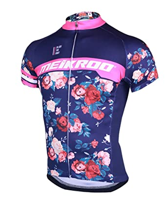 Yiiquan Mens Summer Breathable Quick-Drying Cycling Jerseys Retro Rose  Flower Printing Bike Top ( 7d0fa7881