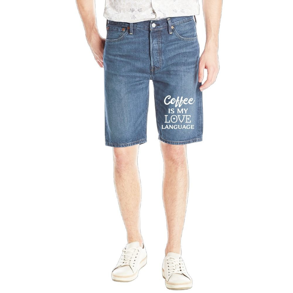 Gongzhiqing Coffee is My Love Language4 Mens Casual Short Denim Jean Pants Cool Casual Jeans Trousers RoyalBlue