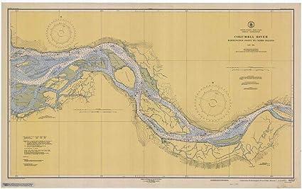 Amazoncom Reprinted 8 X 12 Nautical Map Of Columbia River - Columbia-river-map-us
