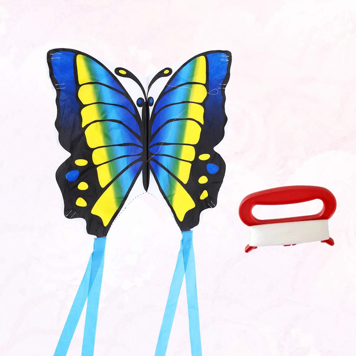 Estilo de Cable de 30 M Azul BESPORTBLE 1 Juego de Dibujos Animados de Mariposa Cometa Al Aire Libre Juguetes Cometa Divertida con Cable para Ni/ños Parque Jard/ín Juegos Suministros