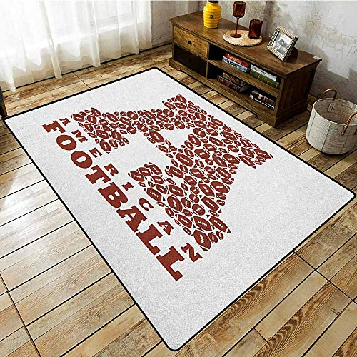 (Classroom Rug,Letter A,First Letter of The Alphabet Shape with American Footballs Athletism Sports,Anti-Static, Water-Repellent Rugs Brown and White )