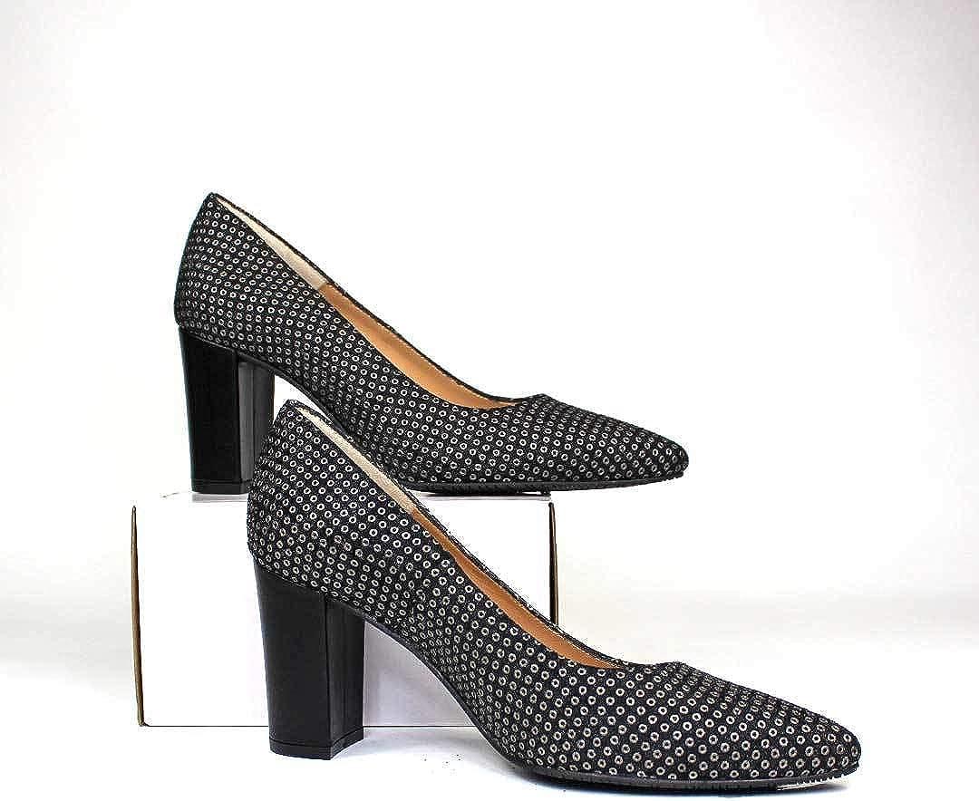 Tacon Ancho de 7 cm Moda Tacones Elegantes SIGG Forro de Piel Tendencia Rock GENNIA Salones Zapatos de Piel para Mujer con Punta Fina Tachuelas Plata