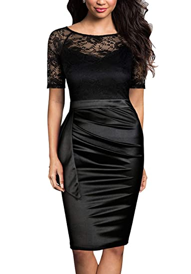 1309eb940b494 Mmondschein Women's Vintage Lace Short Sleeve Business Pencil Cocktail Dress