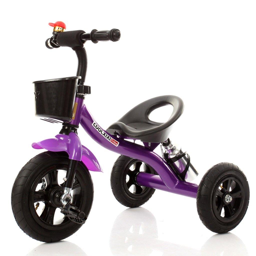 HAIZHEN マウンテンバイク 子供の三輪車のスチールフレームインフレータブルホイール自転車2-4歳の赤ちゃんおもちゃの車71 * 48 * 58センチメートル 新生児 B07DLHZ7S7パープル ぱ゜ぷる