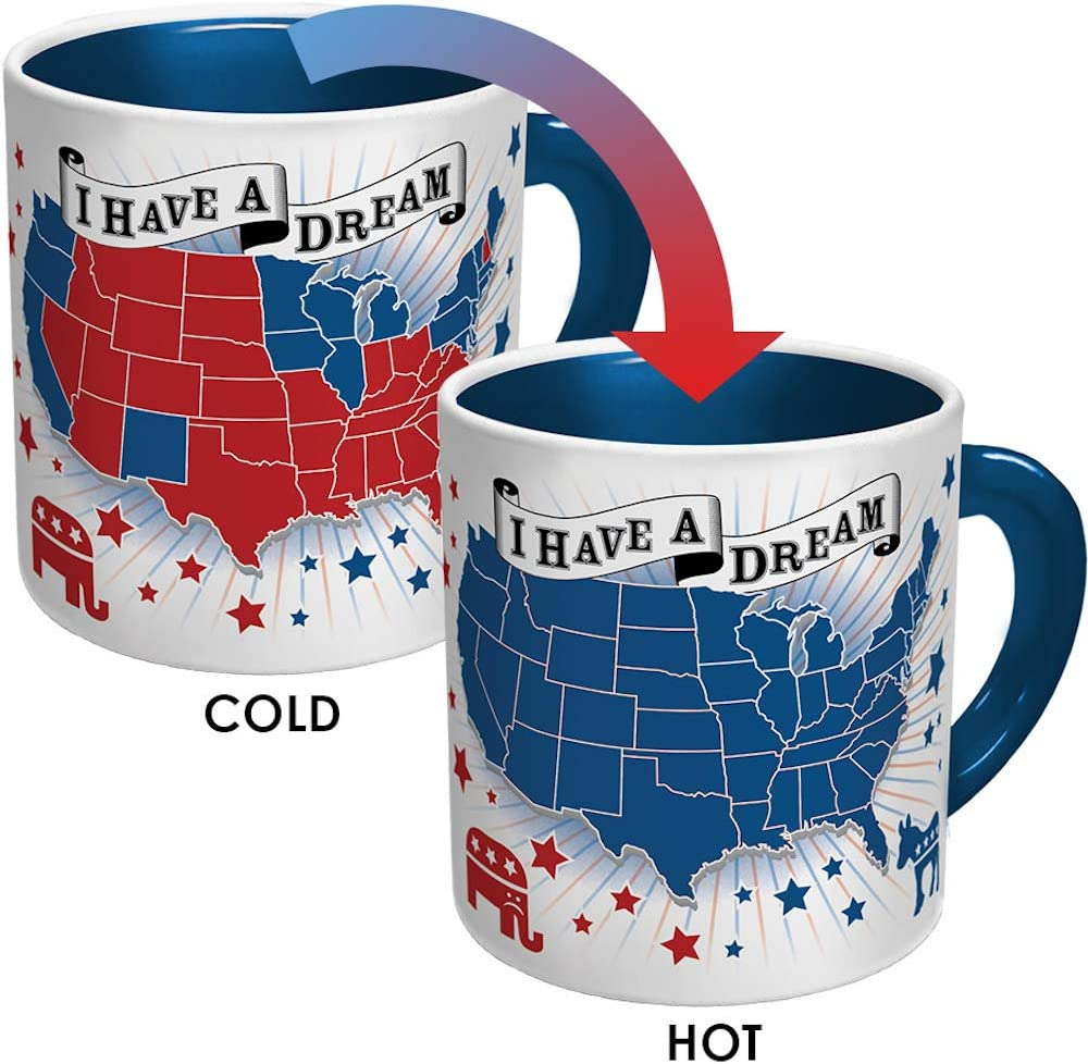 Democratic Dream Heat Changing Mug - Add Coffee or Tea and the Red States Turn Blue - Comes in a Fun Gift Box