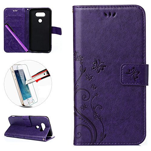 LG G5 Case, ISADENSER [Card Slot] Embossed Flowers Leather Wallet Case Folio Flip Case with Strap for LG G5 + 1pcs Tempered Glass Screen + 1pcs Stylus Pen (Flowers Purple)