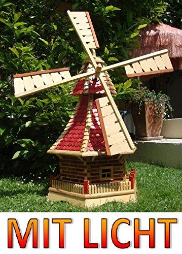 Windmühle,Windmühle für Garten, mit Holzschindel - Dach NEU mit Kugellager, KOMPLETT mit Solar,Solarbeleuchtung, inkl. Doppel-Solarlicht + Solarmodul, 1,30 m groß rot lasiert hell weinrot + natur