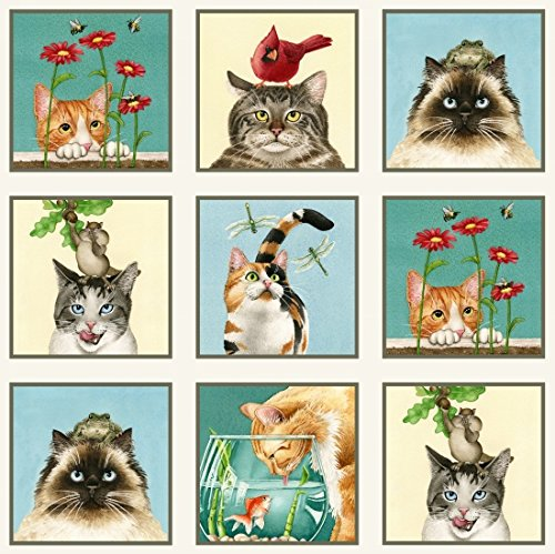 Cream Quilt Fabric (Elizabeth's Studio Curious Cats Quilt Fabric 24
