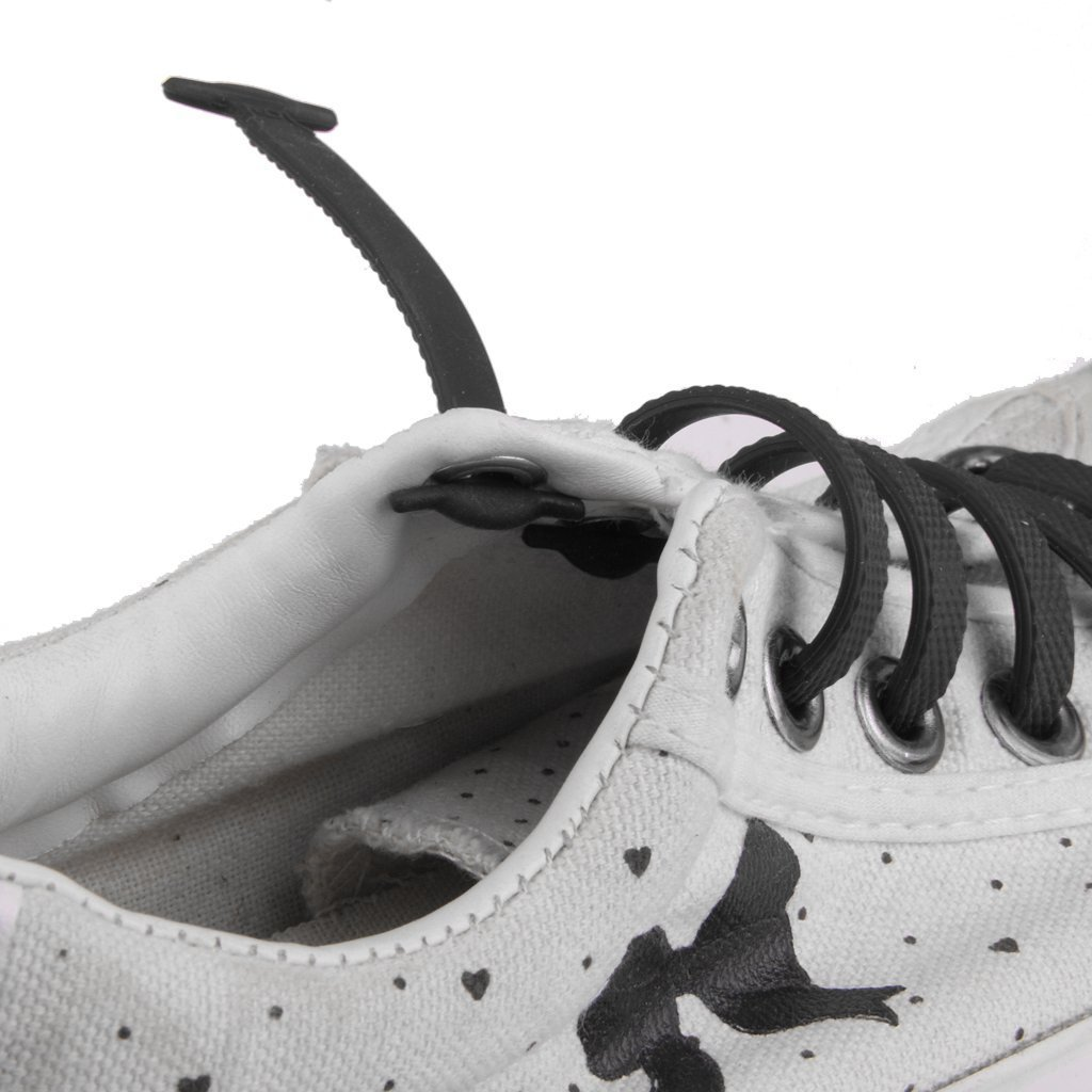 Arpoador bambini Colori silicone elastico lacci sneaker lacci 1?set, Nero
