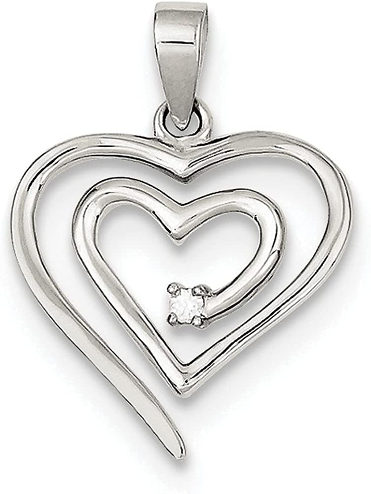 Finejewelers Sterling Silver Single Cubic Zirconia Heart Pendant Necklace Chain Included
