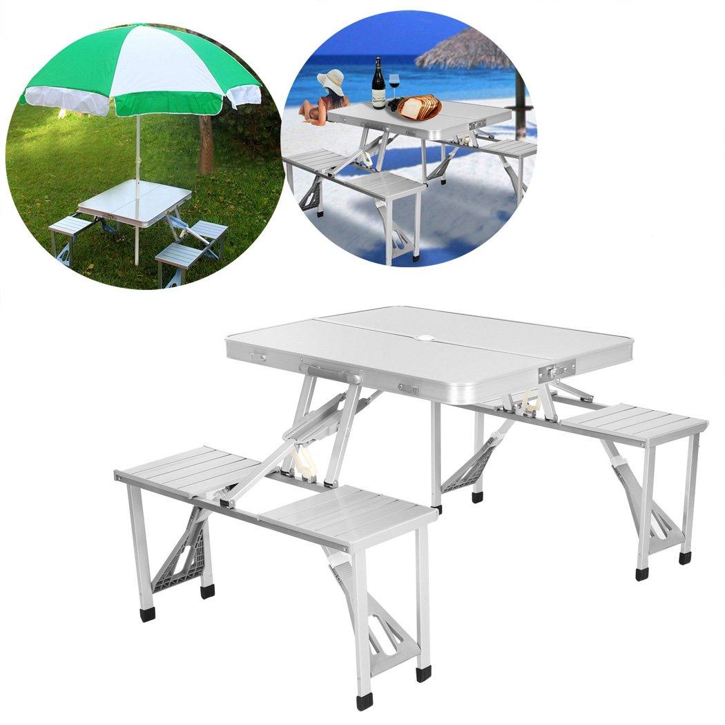 Portable Folding Aluminum Picnic Table with 4 Seats Camping Garden