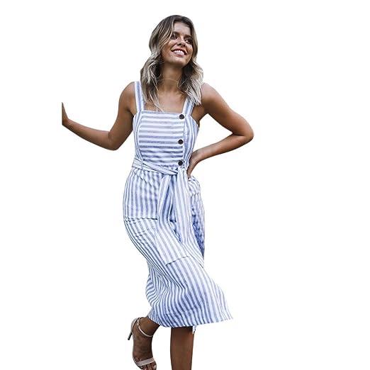 f456b12b6a Amazon.com  Lljin Womens Striped Long Boho Dress Lady Beach Summer Sundrss  Button Down Maxi Dress (XL)  Clothing