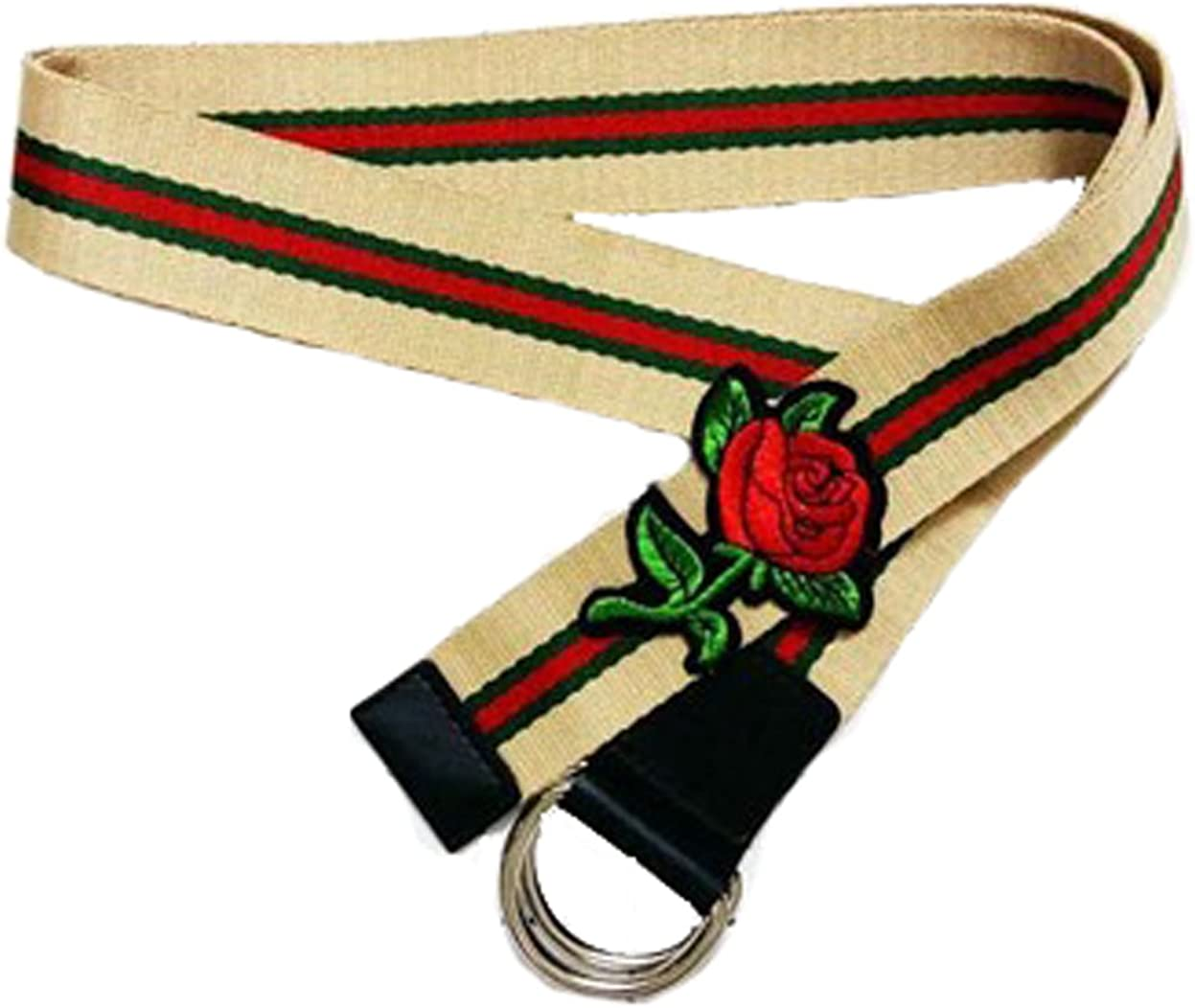 Longwu Women Embroidery Floral Canvas Striped Belt with