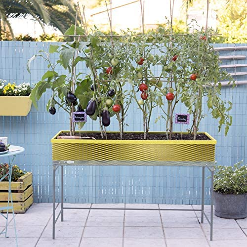 Huerto urbano de metal Green Passion 120x57x80 cm.Color amarillo ...