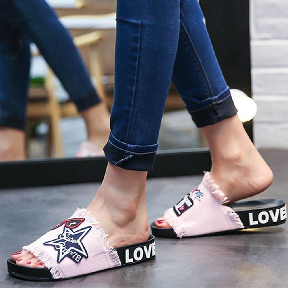 T-JULY Womens Ladies Girls Summer Jeans Cartoon Embroidery Style Non Skid Flat Sandals