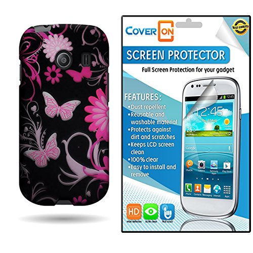 CoverON® Design Graphic Image Shell Cover [SLIM FIT] Hard Case for Samsung Galaxy Ace Style S765C Bundle with Screen Protector - Pink Butterfly