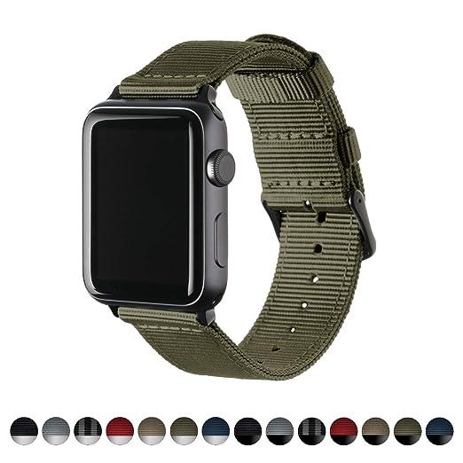 Archer Watch Straps | Repuesto de Correa de Reloj de Nailon para Apple Watch, Hombre y Mujer | Verde Oliva/Negro, 42mm: Amazon.es: Relojes