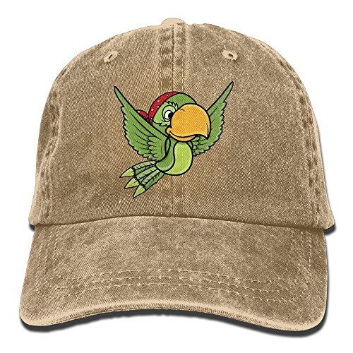 MNBHat Cartoon Green Pirate Parrot Bird Snapback Cotton Hat Natural ()