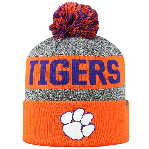 Arctic Tiger - Top of the World NCAA Arctic Striped Cuffed Knit Pom Beanie Hat-Clemson Tigers