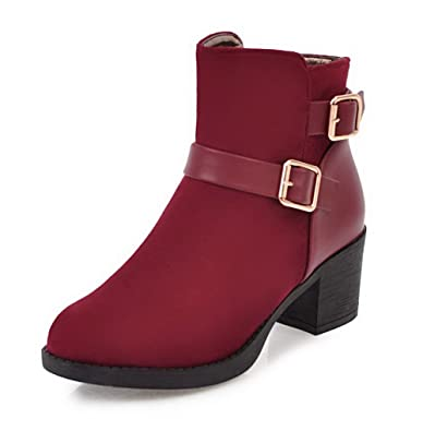Damen Gemischte Farbe Mittler Absatz Schnüren Rund Zehe Stiefel mit Schnalle, Rot, 40 VogueZone009