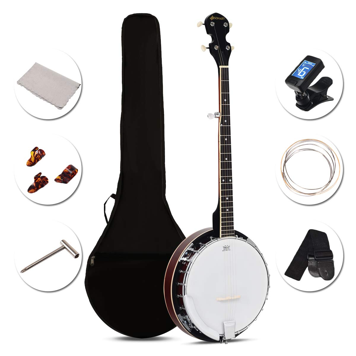 Sonart 5-String Banjo 24 Adjustable Brackets, Mid-range Closed Handle and Mid-range Steel Wire in Plywood Frame, Fingerboard, Include 420D Oxford Cloth Bag, One Strap, Wiper, 3 Picks by Sonart (Image #1)