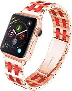 YGTIECS Fashion Apple Watch Band Compatible with Apple Watch 38mm/40mm Stainless Steel with Resin for iwatch Band Series 6 5 4 3 2 1 for Women and Men Rose-Wine Red