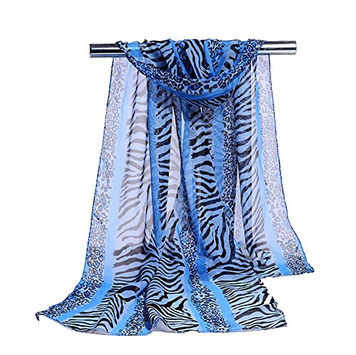 16050cm Scarves Women's Chiffon Leopard Printing Warm Soft Stole, 5 pcs , blue , one - Michael With Blue Gold Kors Face