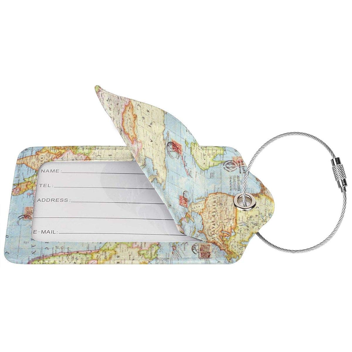 2 World Map Business Trip Luggage Tags Information Labels Leather Cover Owner Contact Information Card For Suitcase//Baggage//Boarding Case//Backpack