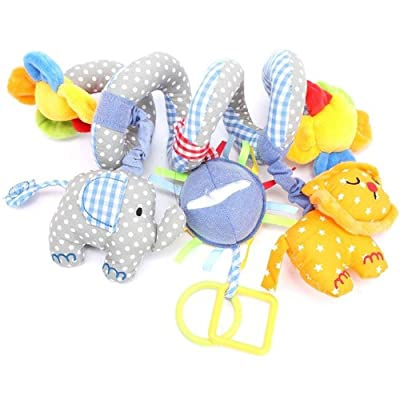 Baby Cute Blue Elephant Soft Plush Toy Spical Activity Decor Infant Rattle for Cot Car Seat