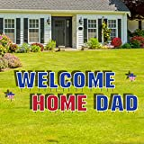 VictoryStore Yard Sign Outdoor Lawn Decorations - Welcome Home Dad Outdoor Decoration Set - 14 Letters and 2 Stars with Stakes