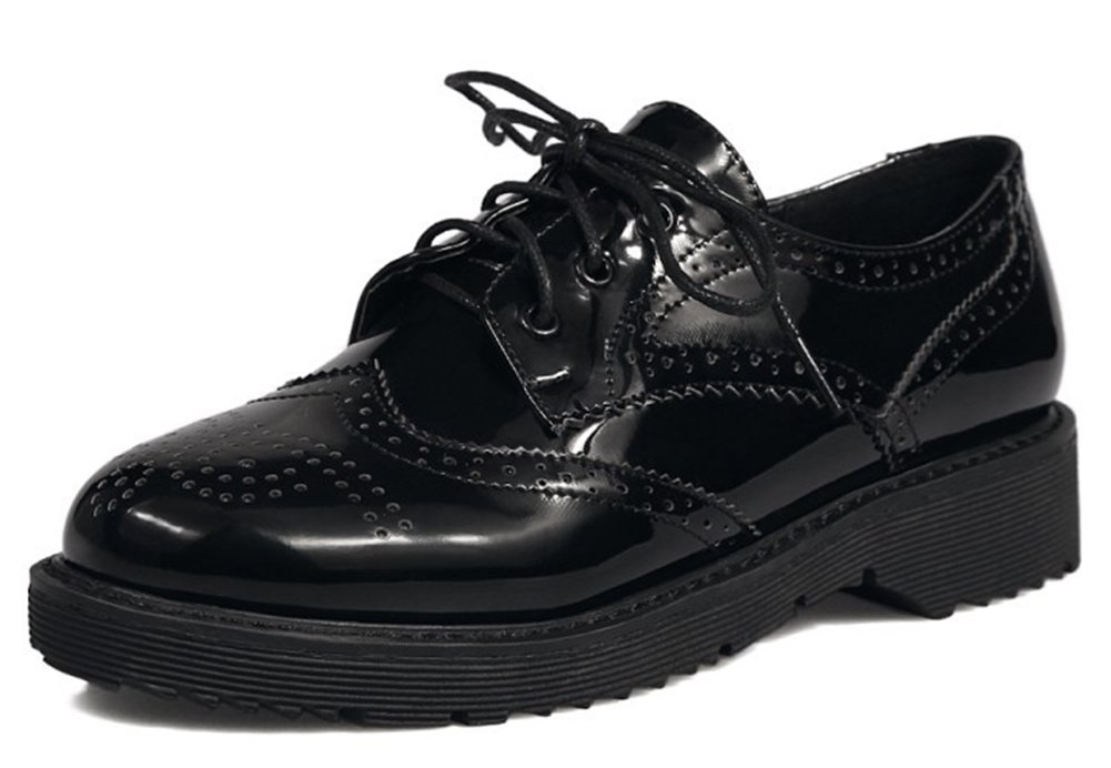 IDIFU Women's Classic Low Chunky Heels Lace Up Brogues Oxfords Shoes (Black, 10 B(M) US)