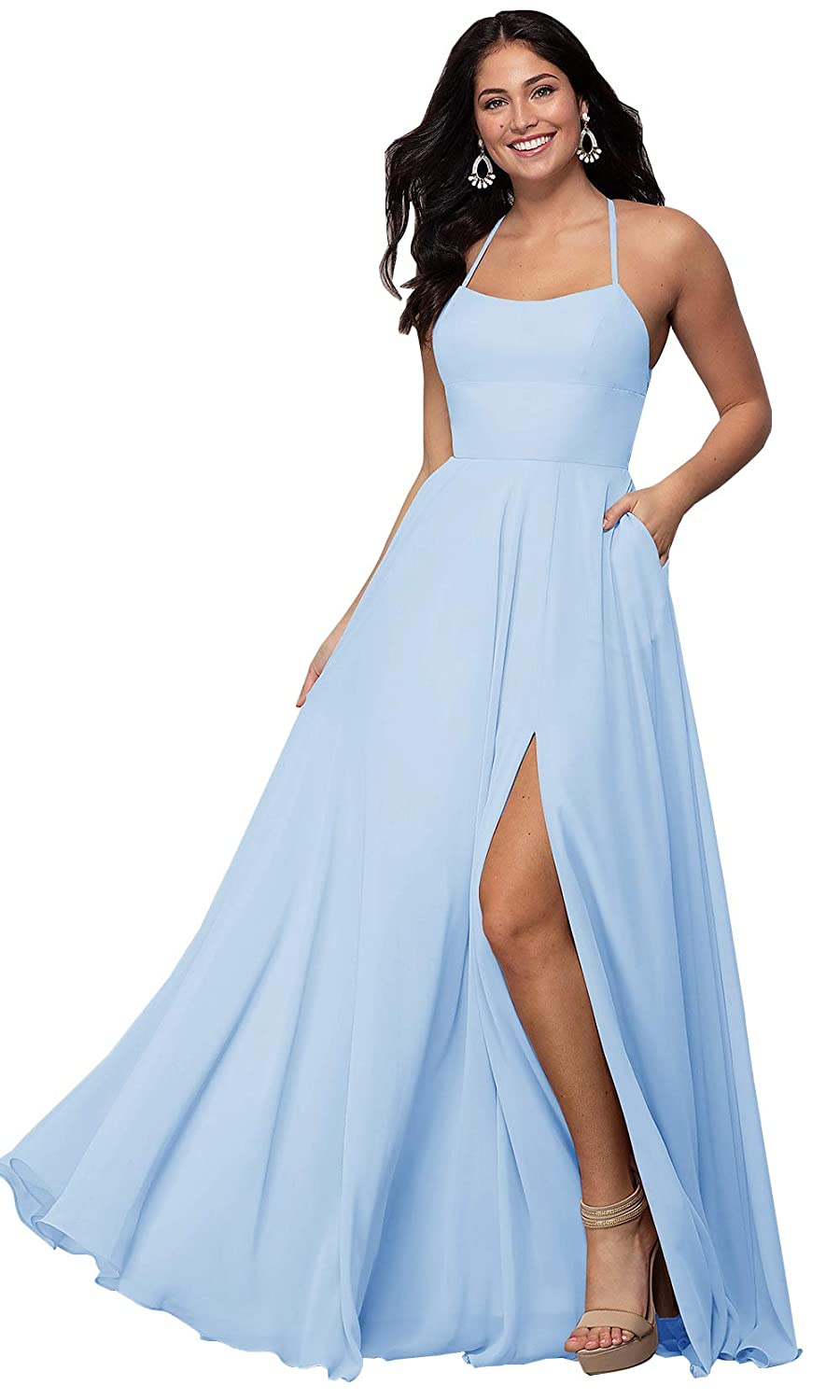 7680611597 Women's Criss Cross Back Chiffon Halter O-Neck Bridesmaid Dresses Side Slit  Long Formal Prom Gown with Pockets