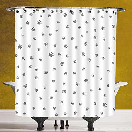 Funky Shower Curtain 30 Dog LoverFoot Prints Of An Animal Pet Canine Marks
