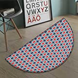 Suchashome Moroccan Bath Mat non slip Vibrant Geometric Mosaic of Ancient Arabian Tiles with Star Motifs Customize door mats for home Mat Scarlet Teal and Navy Blue size:23.7''x15.8''