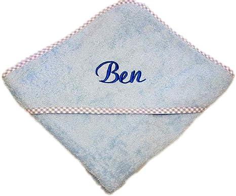 Colour azul claro bebé toalla de baño con capucha 80 x 80 cm personalizado con nombre
