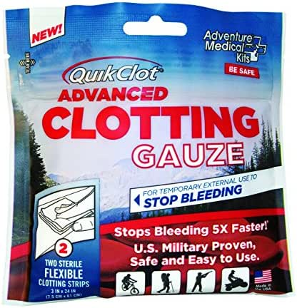 QuikClot Advanced Clotting Gauze | Kaolin, Hemostatic First Aid Combat Gauze Pads to Stop Bleeding Fast | (2) 3-in x 24-in Gauze Strips