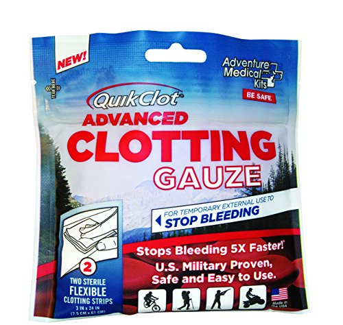 "QuikClot Advanced Clotting Gauze with Kaolin, Two 3"" x 24"" Gauze Strips – First Aid Hemostatic Gauze from Adventure Medical Kits, Quik Clot Combat Gauze, Blood Clotting Dressing, Stop Bleeding Fast by QuikClot (Image #2)"