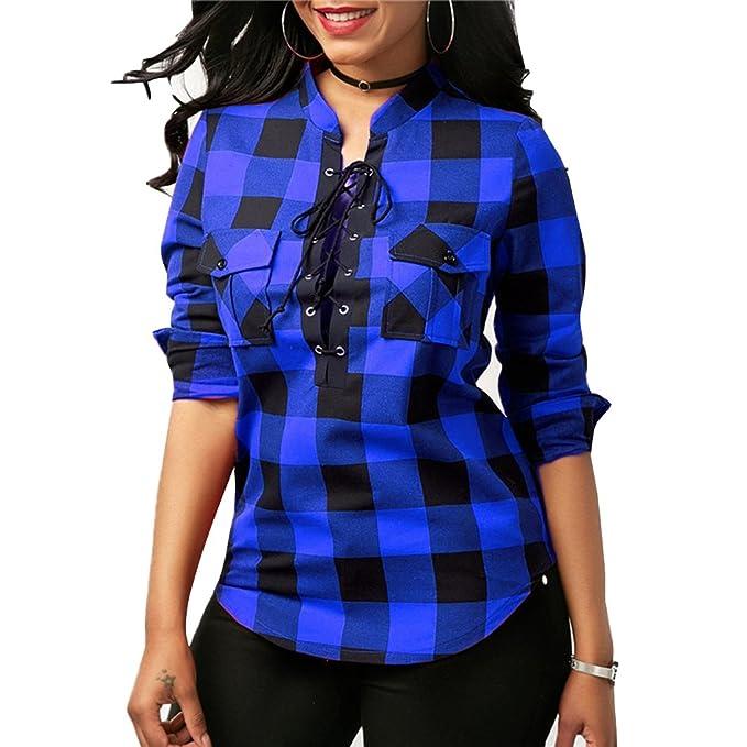 eaf5d628252 Hibote Mujer Blusa Camisa a Cuadros Mujeres Blusas Camisetas de Manga Larga  con Cuello en V Camisas Casual Checker Plaid Shirt: Amazon.es: Ropa y  accesorios