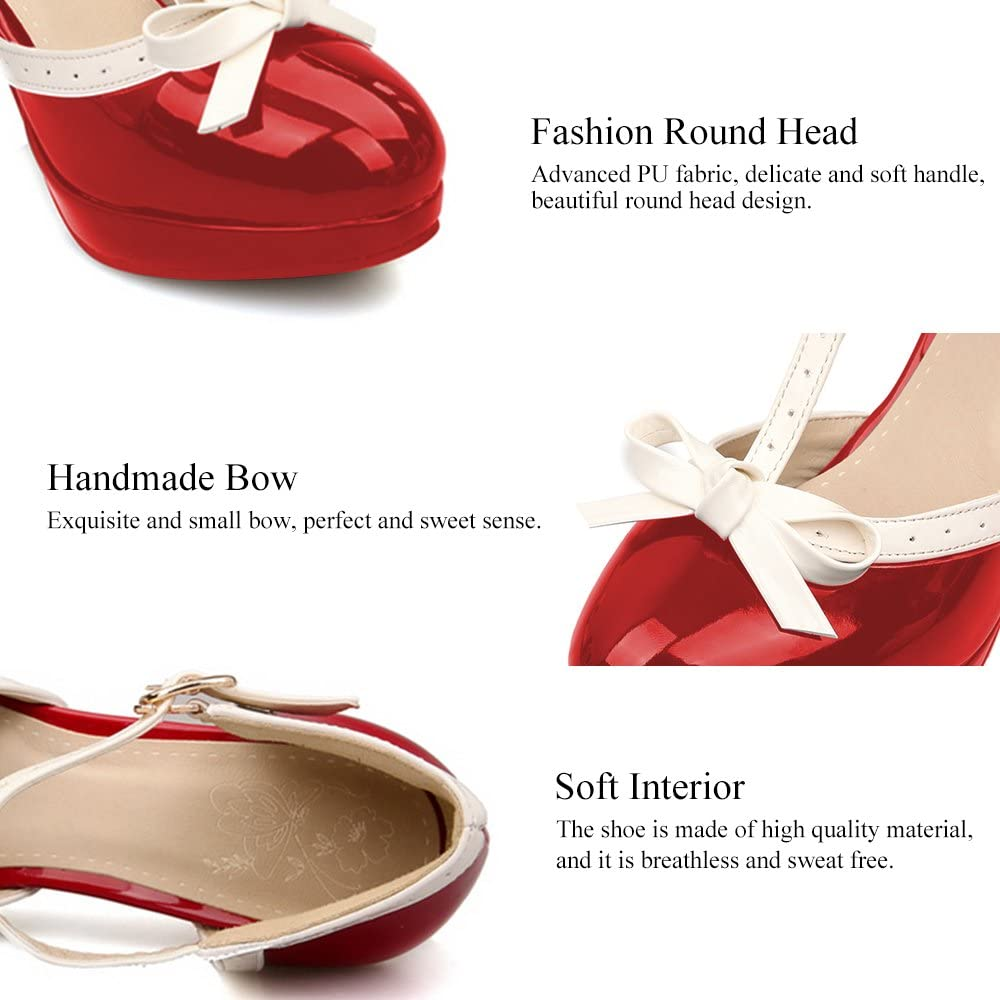 ForeMode Fashion Women T-Strap High Heels Bow Platform Round Toe Pumps Leather Summer Lolita Sweet Shoes