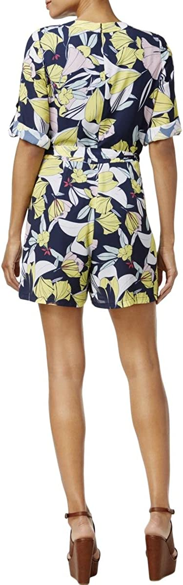 Maison Jules Womens Faux-Wrap Floral Romper Jumpsuit