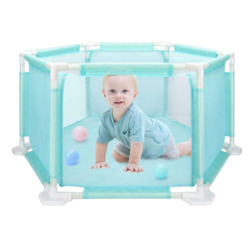 Children's Hexagonal Playpen Babies Safety Fence Washable Portable Foldable Fence + 10PCS Ocean Ball Pool Set for Babies/Toddler/Newborn/Infant Safe Crawling for Outdoor and Indoor Augproveshak