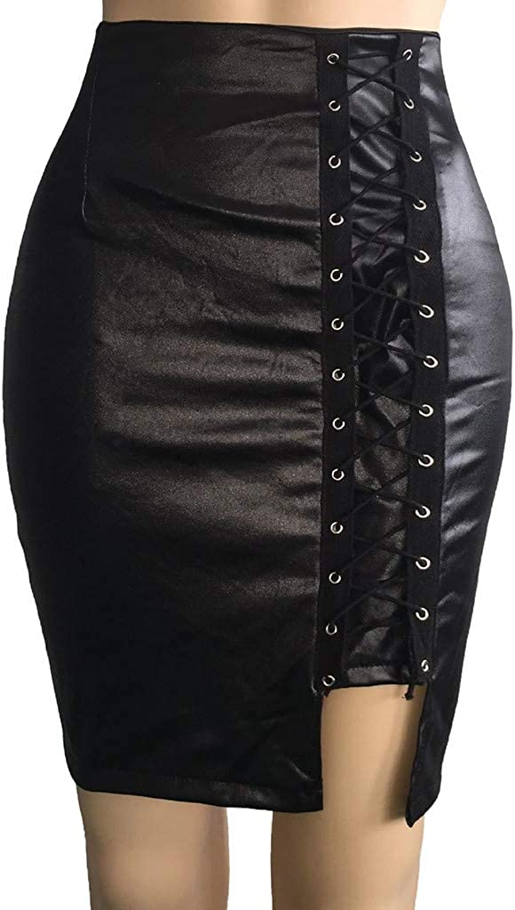 Houshelp Women's Black Mid Waist Asymmetric Hem PU Mini Skirt Lace Up A Line Faux Leather Autumn Winter Pencil Skirt