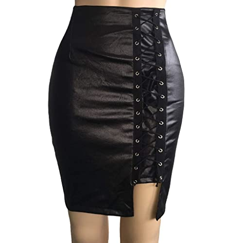 Fheaven Falda de Cintura Alta para Mujer, Falda de Cuero con ...