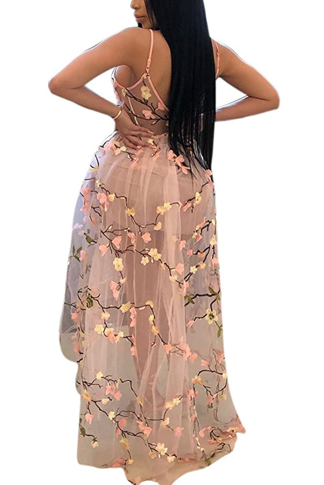 Aro Lora Womens Floral Embroidery Sheer Mesh Spaghetti Strap Evening Party Long Maxi Dress
