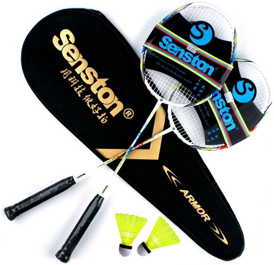 Senston Raquetas de Bádminton,Unisex Adulto Badminton Racket-Incluyendo bádminton Bolsa/2 raquetas/2 bádminton
