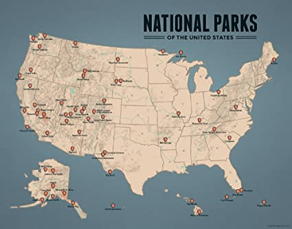 Amazon.com: Best Maps Ever US National Parks Map 11x14 Print (Tan