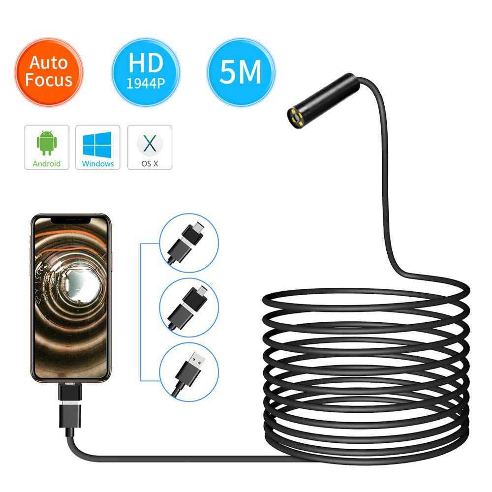 New Landing 5MP Auto Focal 1944P 3in1 USB Endoscope Camera Water-Proof IP68 by New Landing